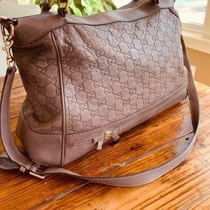 Gucci Guccissima Chocolate Leather Hobo Bag Purse